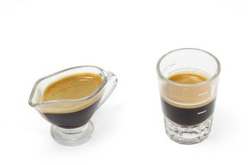 The espresso coffee in white background