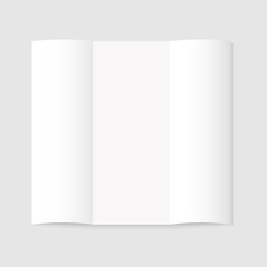 Blank white tri-fold paper brochure on gray background