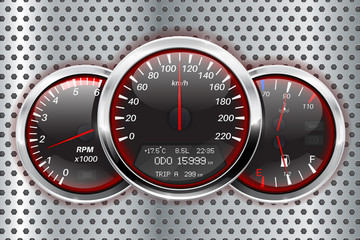 Speedometer, tachometer, fuel and temperature gauge