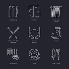 Vector line icons collection of knitting and crochet. Hand made elements -yarn, knitting needle, knitting hook, pin and others. Outline knitting symbol collection for invitations, notes, sites, banner