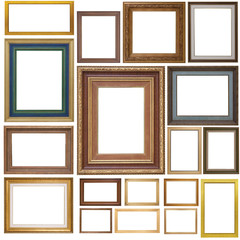 Set of Antique frames on white