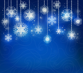Blue Merry Christmas card with snowflakes. It can be used for decorating of invitations, greeting cards. Vector illustration