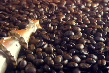 coffee beans and gold xmas tree