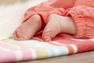 Closeup photo of baby feet