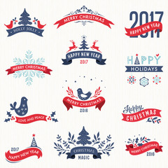 Merry Christmas and New Year typographic banners with Winter Holidays design elements.