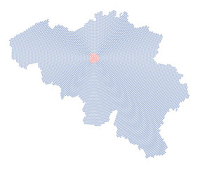 Belgium map radial dot pattern. Blue dots going from the red dotted capital Brussels outwards and form the country silhouette. Illustration on white background.