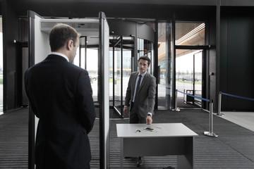 Man at airport security gates