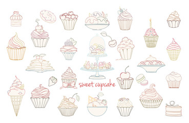 Hand drawn set of doodle style cupcakes
