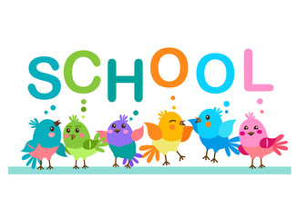 "Cute Cartoon Birds. Birds And The Word ""School"". School Theme. Illustrations On A White Background. School First. Morning Routine."