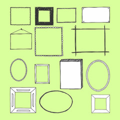 Hand Drawn Frames. Doodles. Isolated. Vector