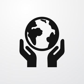 globe in hands icon illustration