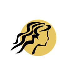 Vector of beautiful young woman. Silhouette of girl on a white background. Business icon for the company. Logo / Beauty / cosmetics / SPA salon. Vector illustration.