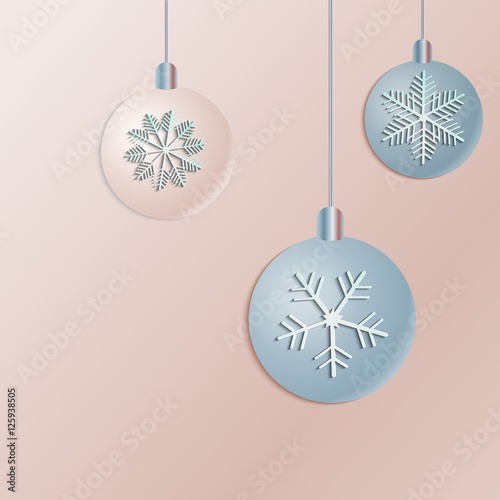 new year ball vector white paper christmas snowflake and ball on a rose background