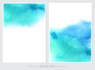Set of cards with vector watercolor blots