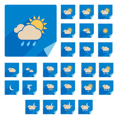 Trendy Flat Weather Icon Set With Long Shadow. Vector
