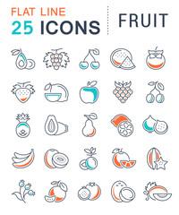 Set Vector Flat Line Icons Fruit