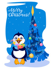 Penguin with gifts on the background of decorated Christmas tree