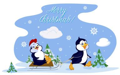Penguins sledding. Card with inscription merry Christmas!