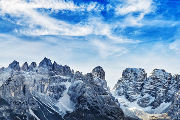 Wall Mural - Tre Cime di Lavaredo. Dolomites mountain peaks. Italy.