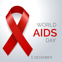 World AIDS day red ribbon poster. Vector illustration