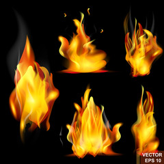 flame. Realistic fire. Smoke. Bonfire. For your design.