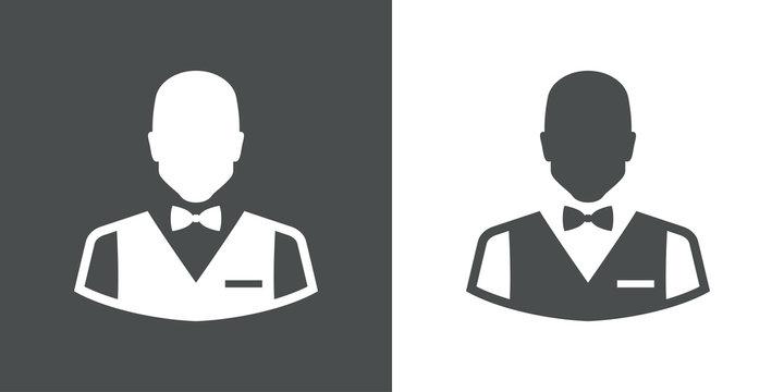 Icono plano silueta camarero gris