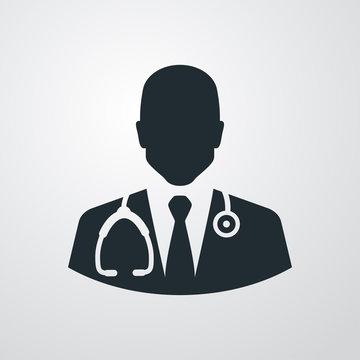 Icono plano silueta doctor en fondo degradado