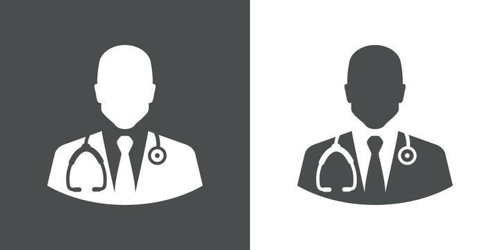 Icono plano silueta doctor gris