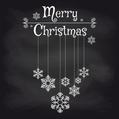 Christmas card design with snowflakes and lettering Merry Christmas on chalkboard background. Vector illustration
