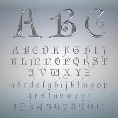 Elegant Silver Platinum Font, Alphabet, ABC and numbers