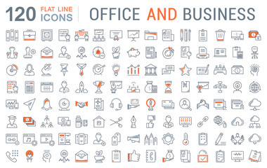Set Vector Flat Line Icons Office and Business Wall mural