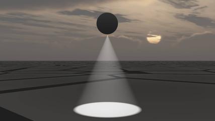 UFO flying and scanning deserted land