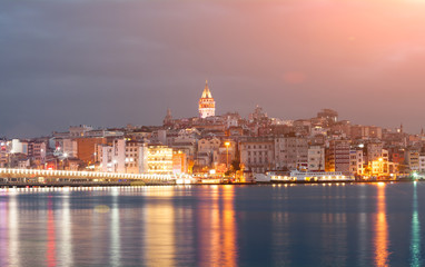 Nighte cityscape with Galata Tower over the Golden Horn in Istanbul, Turkey