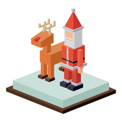 Isometric santa and deer icon. Christmas season decoration and celebration theme. Isolated design. Vector illustration