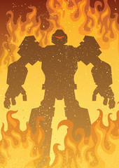 Robot / Giant robot in flames.