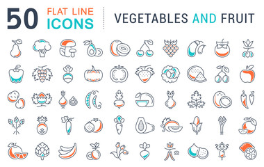 Set Vector Flat Line Icons Vegetables and Fruit