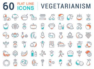 Set Vector Flat Line Icons Vegetarianism