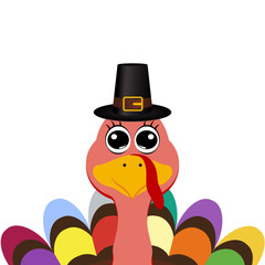 Turkey in hat on Thanksgiving Day, vector illustration