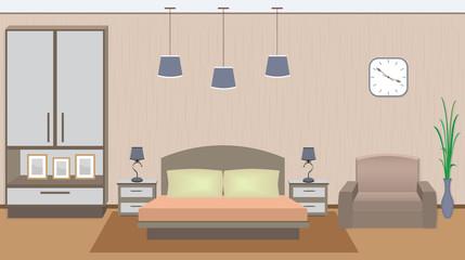 Elegant bedroom interior with furniture, houseplant, photoframes.