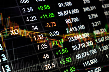 Stock market chart, Stock market data on LED display concept