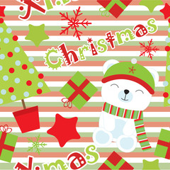 Seamless background of Christmas illustration with cute bear and Xmas ornaments on stripes background suitable for wallpaper, postcard, and scrap paper