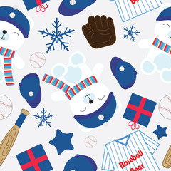 Seamless background of Christmas illustration with cute bear and baseball tools on blue background suitable for wallpaper, postcard, and scrap paper