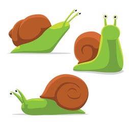 Cute Snail Poses Cartoon Vector Illustration