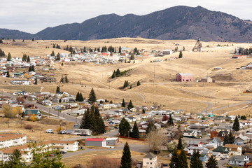 High Angle Overlook Walkerville Montana Downtown USA United States