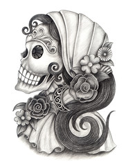 Skull art day of the dead.Art design women skull head action smiley face day of the dead festival hand pencil drawing on paper.