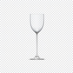 Transparent vector realistic empty glass for alcohol drinks