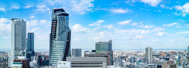 青空の名古屋の街と高層ビル群