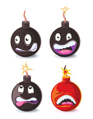 Funny cartoon wicked bombs emoji vector illustration