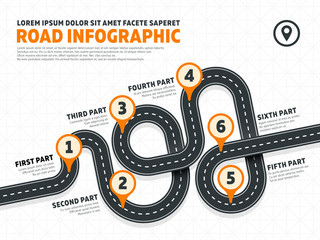 Street, road business marketing vector infographics template with pin signs