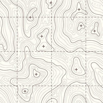 Contour elevation topographic seamless vector map